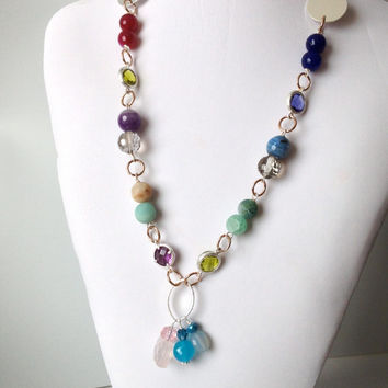 Multi Colour Gems & Crystal Chain Necklace