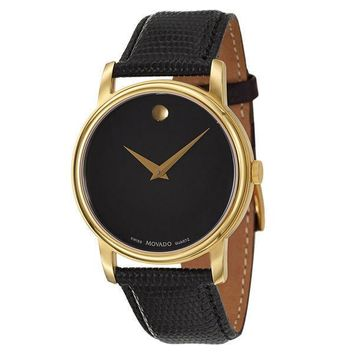 Movado Mens Black Dial Museum Swiss Quartz Leather Strap Gold Tone Watch