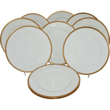 Antique Limoges Theodore Haviland Dinner Plates Gold Band Set of 10 France Dinnerware