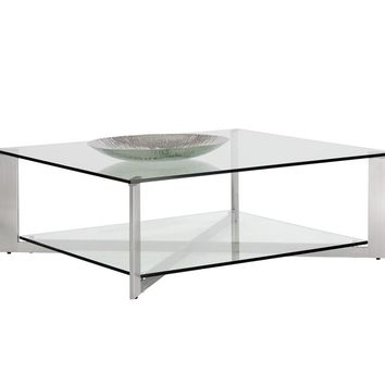 JAVIER  BRUSHED STAINLESS STEEL FRAME WITH TEMPERED GLASS TOP SQUARE COFFEE TABLE