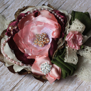 BABY HEADBAND, toddler, girl, newborn, sassy chic, green, marsala, pink, lace, silk, rose, shabby, rhinestone, sew cute, fancy, birthday,