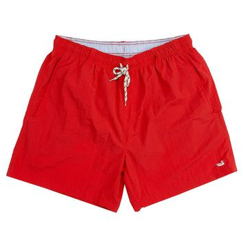 Dockside Swim Trunk in Red by Southern Marsh