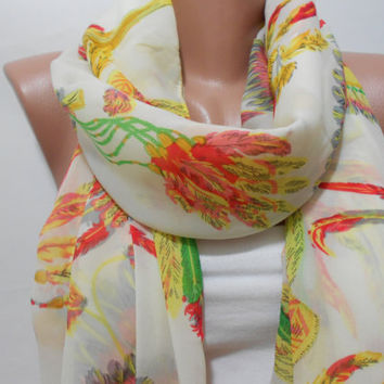 Boho Multicolor Feather Pattern Ivory Scarf Shawl Infinity Scarf, Bohemian Women's Fashion Accessory, Gift For Mother For Her, ScarfClub