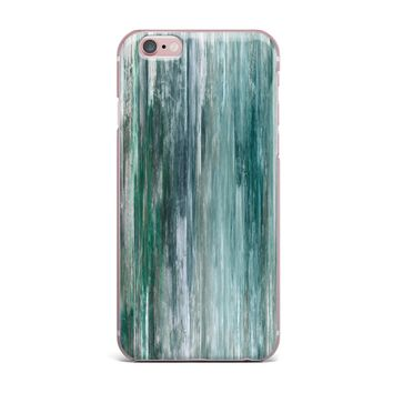 """Ebi Emporium """"Waterfall Blur, Teal Blue"""" Teal Blue Abstract Coastal Painting Mixed Media iPhone Case"""