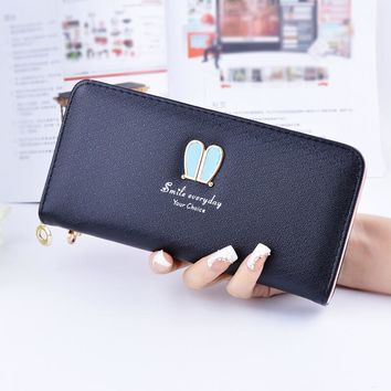 2017 Brand New Fashion Lovely Women Wallet Female Leather Small Cute Student Purse Money Coin Card Holder Girl Wristlet Bag