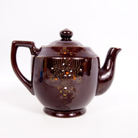 Vintage Brown Teapot Japan Red Ware Pot Hand Painted Moriage Floral Design Gold Accents