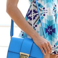Bright Blue Pleather Clutch Bag with Gold-tone Buckle