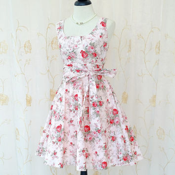 29a5728e348 My Lady - Sweet Pastel Floral Dress Pale Pink Floral Sundress Summer Party  Tea Dress P