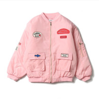 Ulzzang harajuku wind coat men winter couple coat female badge thicken the student's jacket Pink
