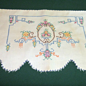 Cross Stitched Table Doily Doilie Antimacassar