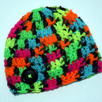 Neon baby hat crochet newborn photo prop 0 - 3 months up to 24 months