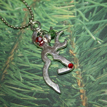 Rudolph the Reindeer Browning necklace, redneck Christmas, christmas necklace, gift for hunter, Browning deer head necklace