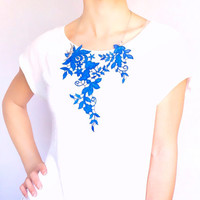 statement necklace // hand dyed blue lace bib collar // bobo modern chic jewelry gift // dress accessory