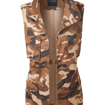 LE3NO Womens Safari Camo Drawstring Waist Military Anorak Vest with Pockets