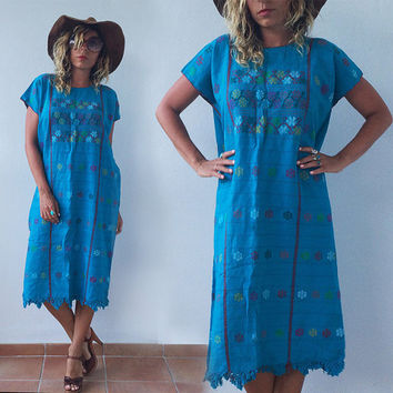 Vintage 1960s 1970s Blue Mexican Huipil Caftan Hand Embroidered Boho Hippie Dress Deadstock || Free Size S M L XL