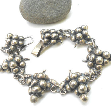 Vintage Mexican Silver Bracelet, Embossed Sterling Silver Grape Bracelet, 925 Mexico