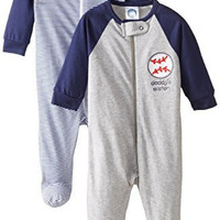 Gerber Baby Boys' 2 Pack Zip Front Sleep 'N Play, Baseball Blue, 3-6 Months