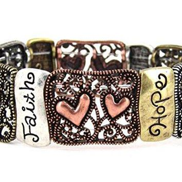 4030210 1 Corinthians 13 Faith Hope Love Stretch Bracelet Christian Scripture Religious