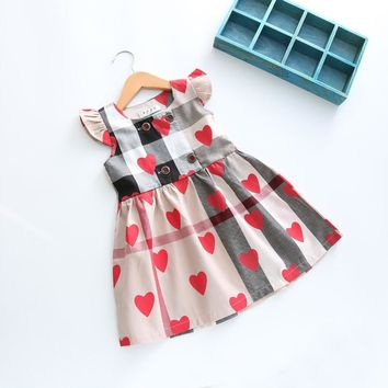 New Summer Style Baby Girls Dress Plaid Dress Heart Print Clothing Fly Sleeve Toddler Kids Dress For Girls Clothes Vestidos