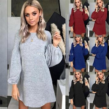 2018 Women Lantern Long Sleeve Knitted Sweater Dress Elegant Autumn Winter Dress Casual O Neck Solid Mini Short Dresses
