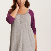 Sleep Henley Tunic Raglan Tee