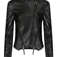 Faux Leather Jacket with Front Zippers - US$41.95