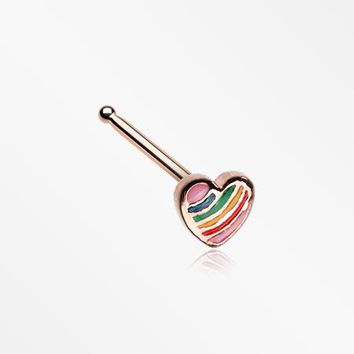 Rose Gold Rainbow Pride Heart Nose Stud Ring
