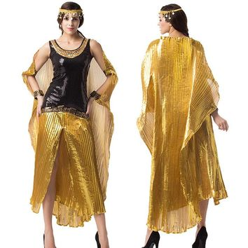 Umorden Halloween Costume for Women Deluxe Egypt Cleopatra Fantasia Nile Queen Costumes Cosplay Gold Fancy Dress Cloak Plus Size