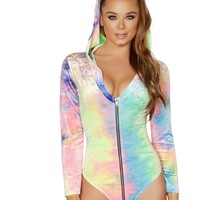 Zip up Tie Dye Velvet Long Sleeved Hoodie Bodysuit