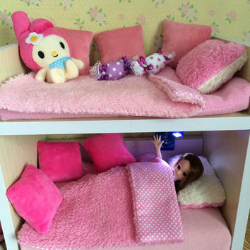 Bunk Bed And Bed Set for Blythe , azone, Momoko, Lati, Licca , jerryberry, BJD | Doll Accessories | miniature furniture