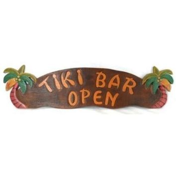 HUGE Tiki Bar Open Sign with Palm Trees Hand Carved Wood for Outside or Inside