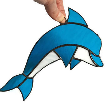 Nautical Decor Dolphin Ornament, Stained Glass Dolphin Decoration in aqua blue and white, Beach Decor, Ocean Window or Wall Glass Art Accent