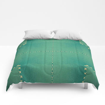 Texture Teal with Beige stitched Abstract Comforters by Sheila Wenzel
