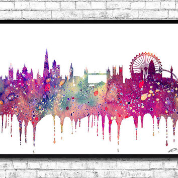 London Watercolor Print Purple City Skyline London Watercolor City Watercolor City Silhouette Wall Hanging Home Decor Giclee Wall Art