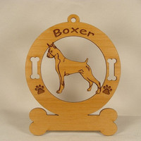 1946 Boxer Standing Personalized Wood Ornament by gclasergraphics
