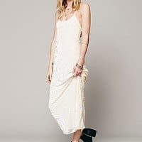 Lindsey Thornburg + Free People Womens Speak Easy Velvet Dress - Ivory Burnout