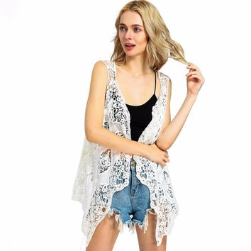 Hippie Froral Patch Design Vest Retro Vintage Crochet Beach Cover Up Top Asymmetric Open Stitch Kimono Cardigain