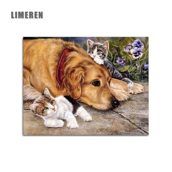 New Home Decor Pictures On Canvas Diy Oil Painting By Numbers Drawing Modular Pictures On The Wall Art Animals Dog And Cats