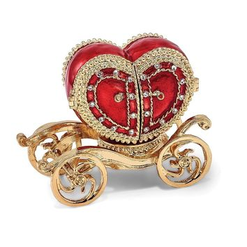 Bejeweled Heart Carriage Ring Holder Trinket Box with Charm Pendant
