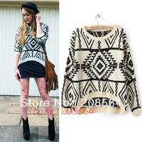 Hot Sale Women Vintage Asymmetric Tribal Style Pullover Tops Euro Geometric Printed Knitwear Sweater 1558