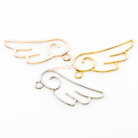 Magical Girl Wing Open Bezel Metal Charm (3 pieces)