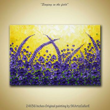 Purple poppy flowers on field original modern contemporary textured Acrylic on gallery canvas painting bright yellow purple home wall decor