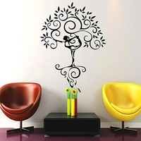Tree Wall Decals Art Gymnast Decal Yoga Stickers Decal Gym Home Decor Interior Design Murals MN925