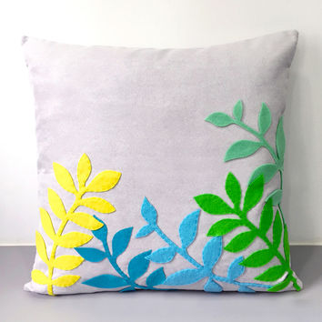 Handmade Spring Botanical Spring Leaves Decorative Light Grey Pillow Cover. 17inch Contemporary Nature Cushion Cover. Porch Pillow Case