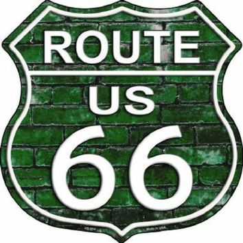 Green  Brick Route 66 Highway Shield Sign  11 inch  die cut  sign