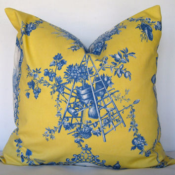 ON SALE Toile Pillow Cover. Yellow and blue pillow cover. Traditional Toile Pillow Cover.