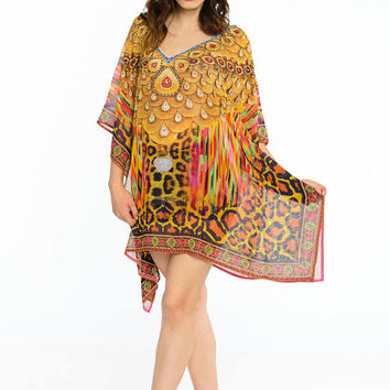 BEACH kaftan poncho in Gold caftan dress short KAFTAN dress in leopard animal print poncho tunic boho gypsy hippie dress in digital print