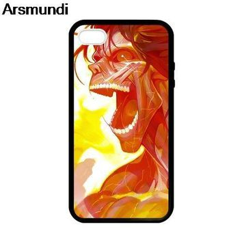 Cool Attack on Titan Arsmundi Eren  plastic Phone Cases for iPhone 5C 5S 6S 7 8 Plus X for Samsung NOTE Case Soft TPU Rubber Silicone AT_90_11
