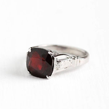 Antique 18k White Gold Garnet Solitaire Ring - Vintage Art Deco 1930s Size 4 1/4 Deep Red Gemstone Fine Flower Floral Jewelry