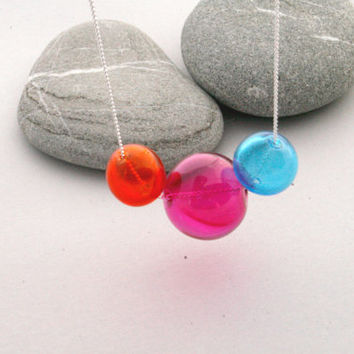 "Pink, Blue & Orange Hand Blown Glass Orbs on a 16"" Silver Plated Chain - Hollow Glass Globe Bubble Necklace"